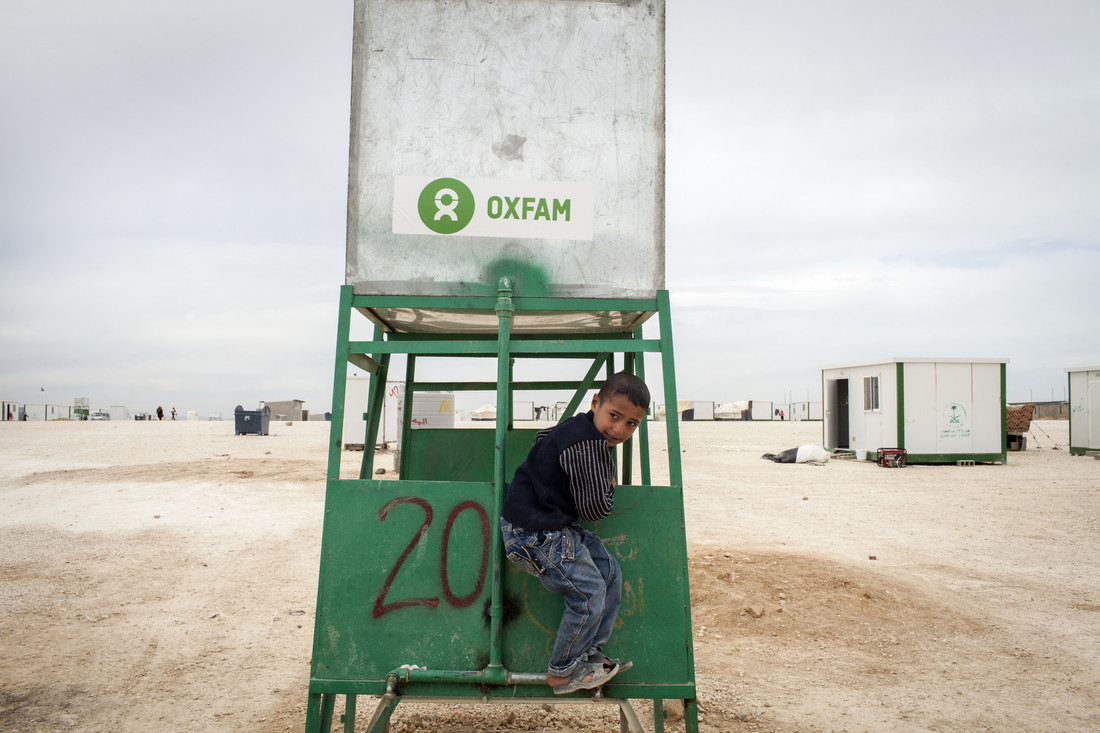 Oxfam water tanks at Zaatari Refugee Camp, Jordan