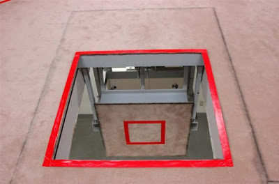 Gallows trap door at Tokyo Detention Center