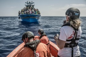 Lindis Hurum Medecins Sans Frontiers (MSF) Co-ordinator conducts a rescue in the Mediterranean. 26th August 2015. A boat containing approximately 650 people is rescued in the Mediterranean Sea by the Bourbon Argos.