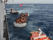 A frame grab from a video provided by the Italian 'Guardia Costiera' coast guard on 08 November 2016 shows shipwrecked migrants boarding the Guardia Costiera 'Diciotti CP941' patrol vessel at a unspecified position in the central Mediterranean Sea on 08 November 2016. A total of  120 people  reportedly were rescued 05 November 2016. ANSA//GUARDIA COSTIERA / HANDOUT BEST QUALITY AVAILABLE HANDOUT EDITORIAL USE ONLY/NO SALES