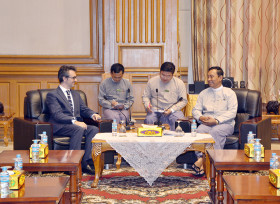 Italy's Ambassador to Myanmar Mr Pier Giorgio Aliberti meets with Speaker Thura U Shwe Mann