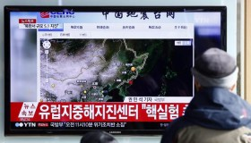 epa05089300 South Koreans watch TV news showing North Korea's breaking news, at Seoul station, in Seoul, South Korea, 06 January 2016. North Korea announced the same day that it successfully conducted a hydrogen bomb test at 10:00 a.m. (Pyongyang Time). The announcement came hours after what seems to be an artificial earthquake was detected close to the North's nuclear test site.  EPA/JEON HEON-KYUN