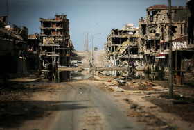 One of the ost damaged streets within Sirte, Libya, OCt. 22